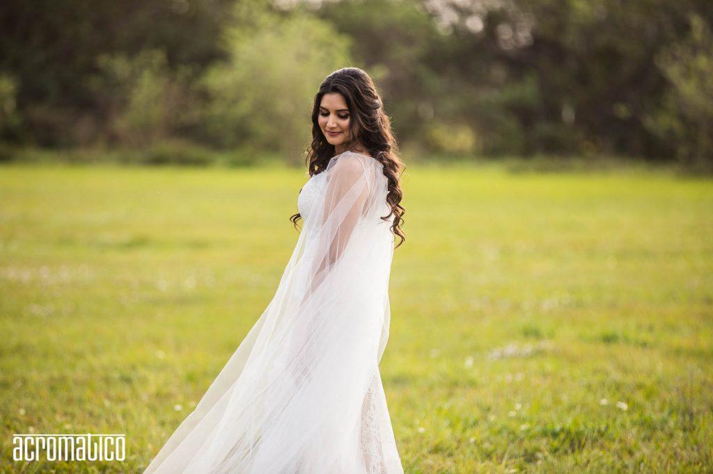 bohemian bride in field